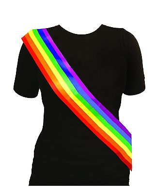 Gay Pride Sash - Rainbow Fabric Sash Gay Pride Lesbian LGBT Marches Parties