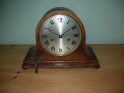 Antique 8 day  HAC Oak Cased Mantel Clock. (Recently Serviced)