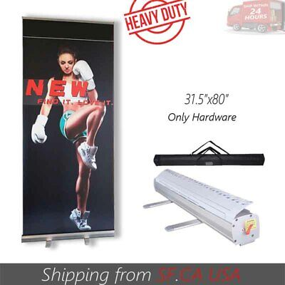 "Retractable Roll Up Banner Stand Trade Show Pop Up Display Stand 31.5"" x 80"""