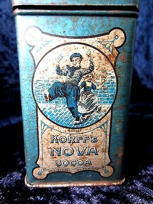 "Antique Dutch Advertising Tin  ""korff's Nova Cocoa""   C. 1915 Amsterdam, Holland"