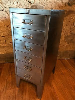 Vintage Industrial Stripped  Metal 6 Drawer Filing Cabinet Free Delivery