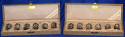 12 Vintage Sterling Silver Individual Salt Shakers 2 Sets of 6 In Original Boxes