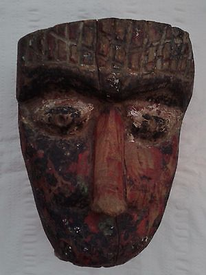 Amazing Large Heavy Thick Old Antique Wood Carved Nepalese India Mask