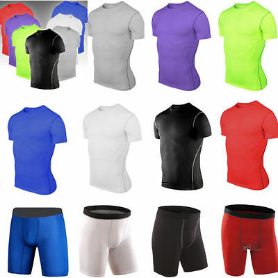 Mens Compression Armour Baselayers Thermal Under T-shirt Top Shorts Pants Sports