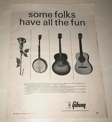 Gibson Guitars  Music Vintage Early 60's Print Ad Advertisement Banjo