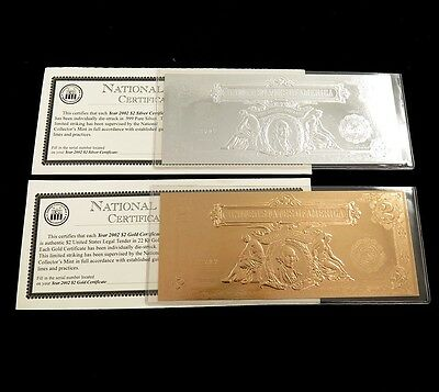 2002 National Collectors Mint $2 Proof Gold & Silver Certificates