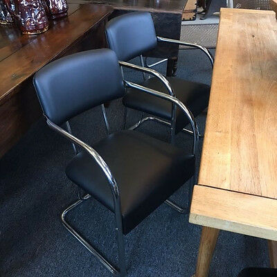 Set of 4 Vintage KEM Weber Chrome and Leather Chairs