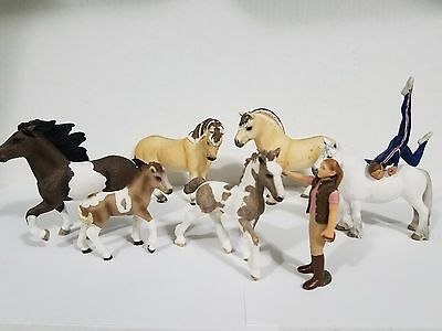 Schleich lot of 6 horses 2 trainers