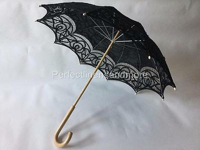 Black Lace Parasol with curved Handle