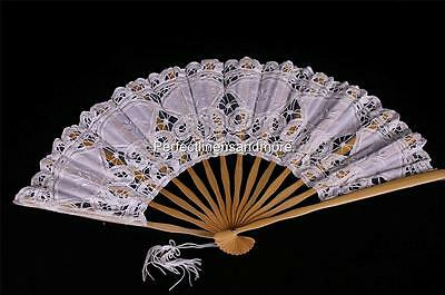 Handmade White Battenberg Lace Fan with Embroidery