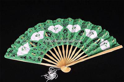 Handmade Green Battenberg Lace Fan with Embroidery