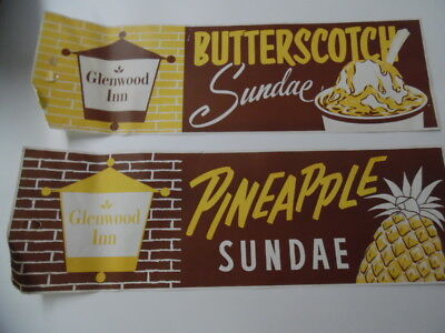 c.1950s Drive-In Restaurant Ice Cream Sundae Set Paper Advertising Sign Vintage