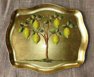 "Vintage 16"" LEMON TREE on Gold Hand Painted Tole Bar Serving Tray NASHCO NY"