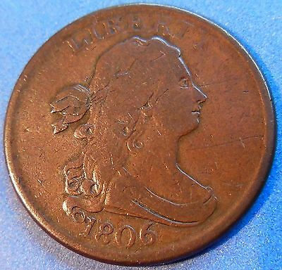 1806 Draped Bust Half Cent Very Fine to Extra Fine Early Copper US Type Z#3494