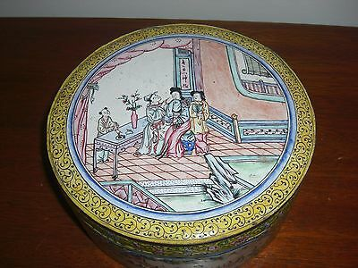 "19Th Century Antique Chinese Cloisonee Large Round Covered Box 7 1/4"" X 3"""
