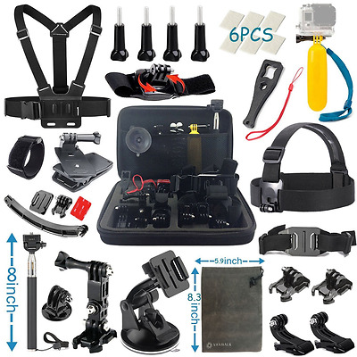 Accessories Kit for Gopro Hero 5 4 3+ 3 2 1 Black Silver, Action cameras (22in1)