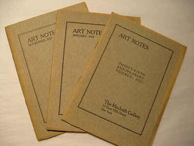 Original Illustrated Macbeth Gallery Art Exhibition Notes 3 Copies from 1920s
