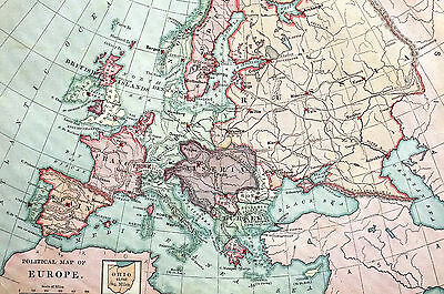 Antique Map of EUROPE - Spain Italy Britain France Austria Russia 1883 Matted