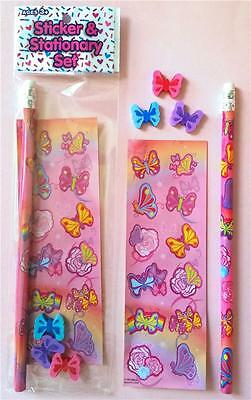 Bulk Lot x 10 Girls Pink BUTTERFLY Stationery Packs Party Favor Novelty Toy NEW
