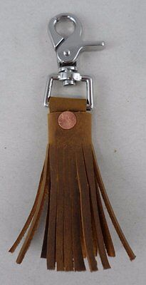 NEW TASSEL KEYCHAIN MADE FROM SCRAP SADDLEBACK TOBACCO LEATHER - key fob clip