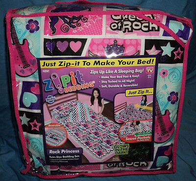 Zipit Kids Bedding, Zip It, Rock Princess, Twin Size, Glows in the Dark, New
