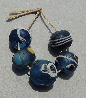 5 ancient islamic glass eye beads mali #40