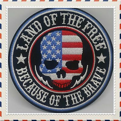 Land Of The Free Patch Iron Or Sew On Biker Motorcycle Leather West Because