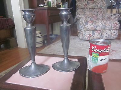 Pair Of Silver Plate Signed Pairpoint Candlesticks