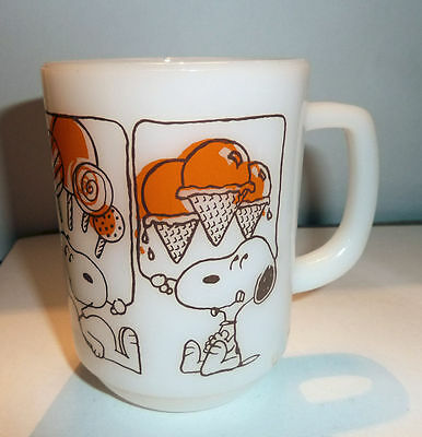 Vintage Anchor Hocking Fire King Snoopy Sweet Dreams Ice Cream Milk Glass Mug