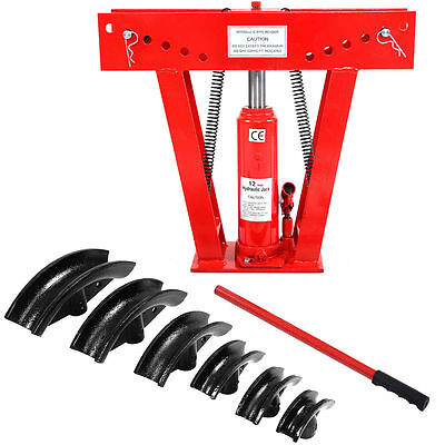 12 Ton Heavy Duty Hydraulic Pipe Bender Tubing Exhaust Tube Bending w/ 6 Dies