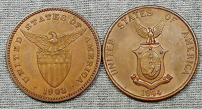 Lot Of 2 Nice Philippines One Centavo Bronze Coins - 1903 & 1944 S