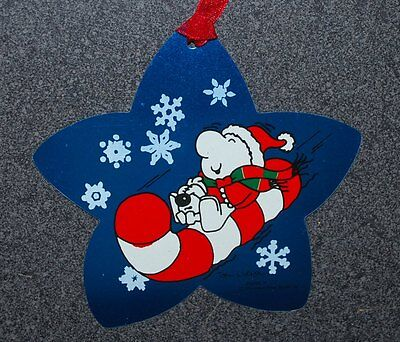 Vintage Ziggy On Candy Cane Sled Star Shaped Metal Christmas Ornament