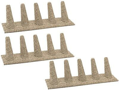 Lot Of 3 Modern Burlap 5 Finger Ring Display Stand Showcase Display Ring Stand