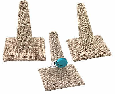 """LOT OF 3 MODERN BURLAP RING DISPLAY STAND JEWELRY RING HOLDER 2 3/8""""Tall <DEAL>"""