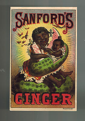 Vintage Black Americana Advertising card Sanford's Ginger Watermelon Baby Boston