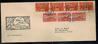 1935 Manila Philippines First Flight Cover FFC to USA Pan American Clipper