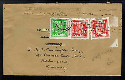 1942 Guernsey Channel Islands Occupation Cover Reused Envelope