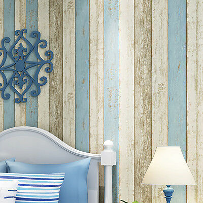 10M Roll Wallpaper Realistic Wood Optic Panelling Timber Plank Wood Panel Stripe