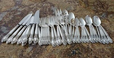 45 PC Oneida Community Country Lane Ballad Rose Silverplate Set for 8+ 5 Serving