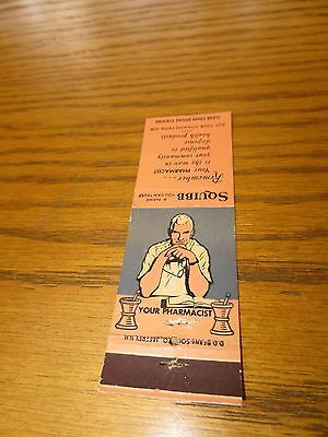 Vintage Squibb Pharmacy Drugstore Matchbook Cover Ad Pharmacist Medicine Exclnt!