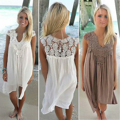 Women Splice Lace Crochet Dress Summer Beach Swimwear Bikini Cover Up Dress Top