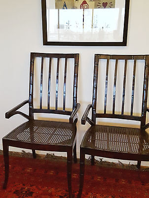 Pair of large Chinoiserie faux bamboo dining chairs