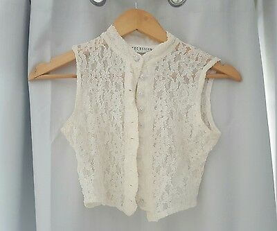 CUE DESIGN Vintage lace vest, ivory/cream colour, size 8