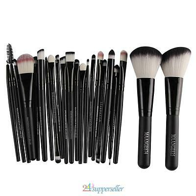 NEW! 20Pcs Eyeshadow Makeup Brushes + 2Pcs Big Powder Blush Foundation Black