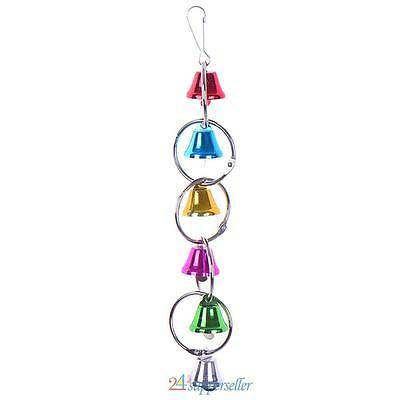 NEW! Colorful Wood Hanging Chew Bell Ball Cage Jouer Pet Parrot Bird Parakeet To