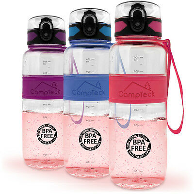 Leak Proof BPA Free Sports Drinking Water Bottle with Carry Strap 450ml 600ml 1L