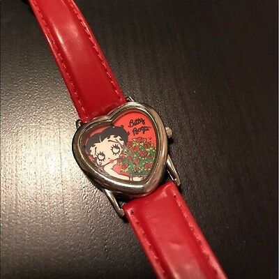 Betty Boop Red Leather + Silver Heart Watch [Vintage - Authentic - Rare - EUC]