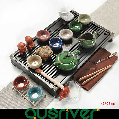 Traditional Chinese Tea Set Wood Solid Porcelain Clay Kungfu Tea Multicolor
