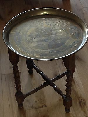 Wooden Occasional Table with Circular Engraved Brass Tray