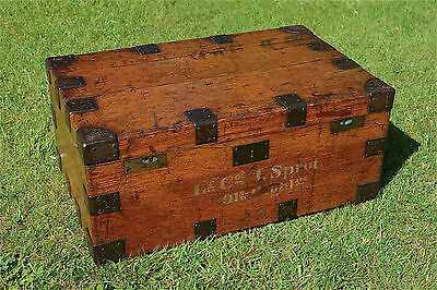 Victorian military traveling box iron bound oak chest 91st Highlanders